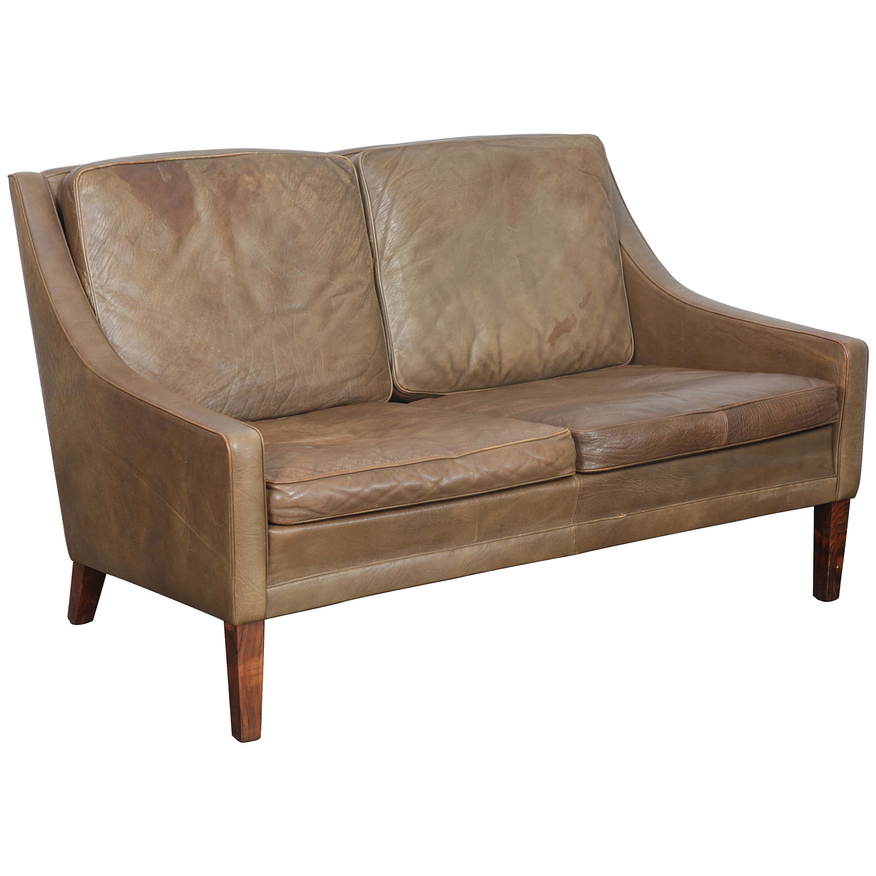Danish Mid Century Modern 2 Seat Brown Leather Sofa For Sale At 1stdibs
