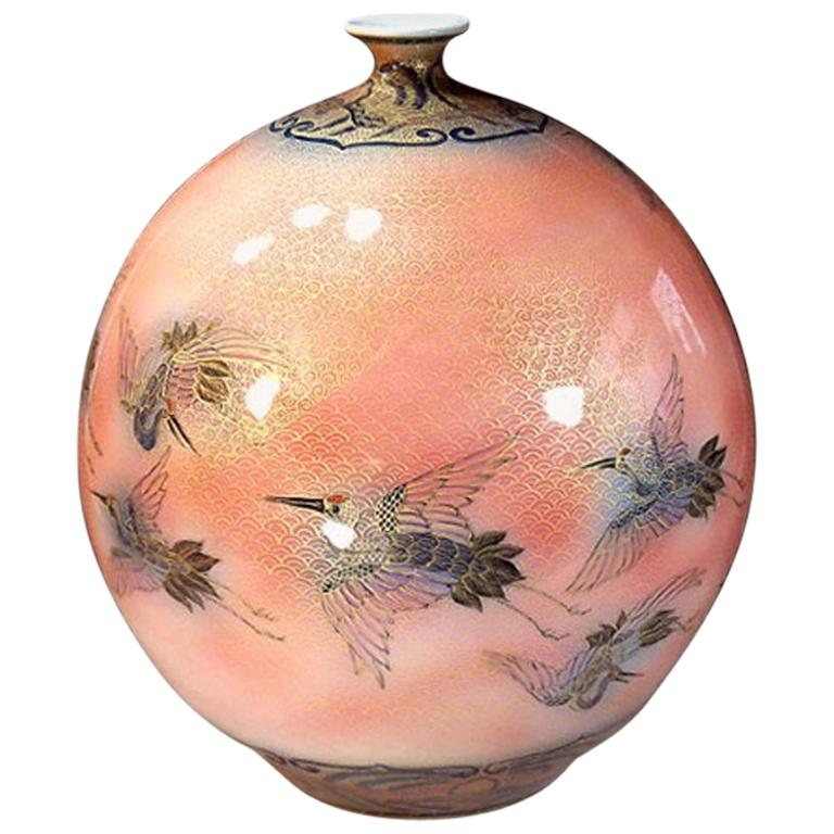 Japanese Large Imari Gilded Hand-Painted Porcelain Vase by Master Artist