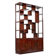 Rosewood Room Divider Cabinet Bookshelf, Asian Modern