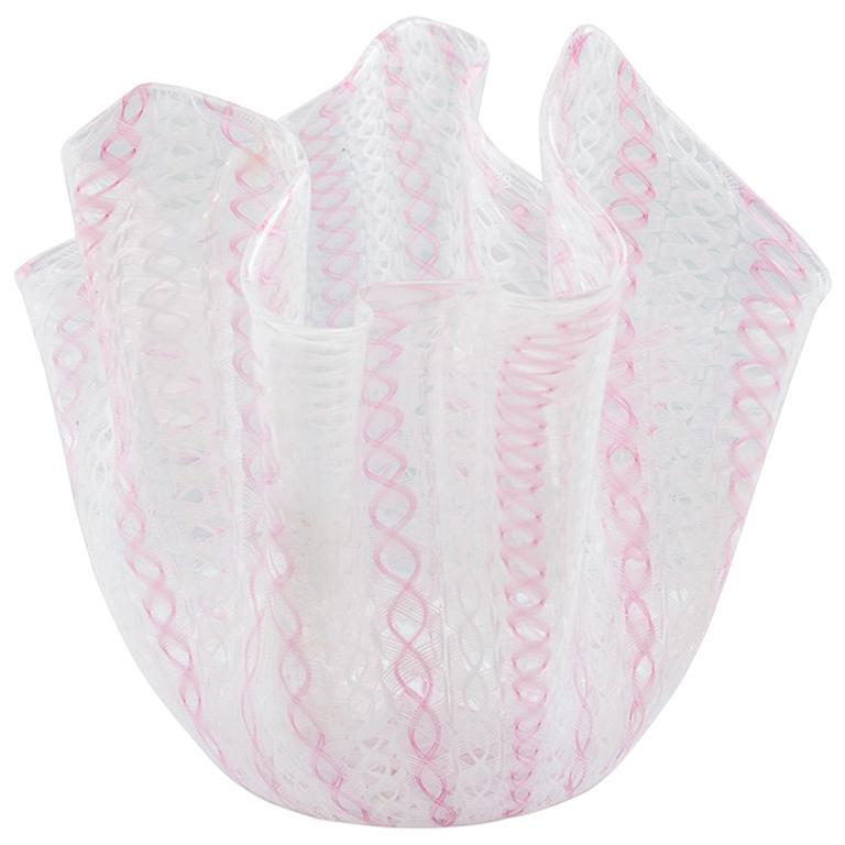 Fazzoletto Vase by Venini 1950s Midcentury Design Murano Glass Italy