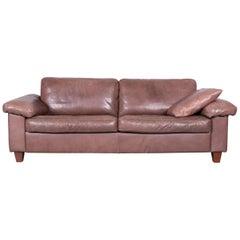 Machalke Designer Leather Sofa Brown Three-Seat Couch