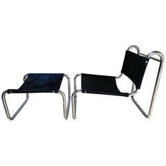 Michel Hamon Tubular Steel Chair and Shaved Foal and Ottoman