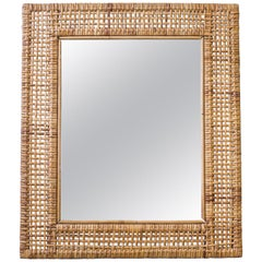 Rattan Mirror Made in Sweden, 1950s