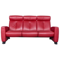 Ekornes Stressless Relax Sofa Red Leather TV Recliner Two-Seat