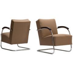 Midcentury Bauhaus Pair of Cantilever Tubular Steel Armchairs by Mücke-Melder