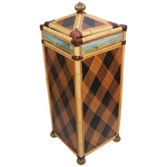 MacKenzie-Childs Personal Hand-Painted Woven Rattan Hamper-Provenance
