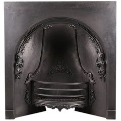 Cast Iron Victorian Antique Arched Fireplace Insert, Mid-19th Century