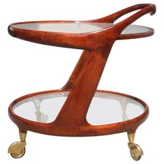 Bar Cart in Mahogany Design Italian 1950s Elegant and Very Beautiful