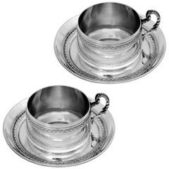 Pair of French Sterling Silver Coffee Tea Cups and Saucers, Neoclassical
