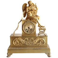 """""""Angel and Lyre"""" Gilt Bronze Clock French Restoration Time"""