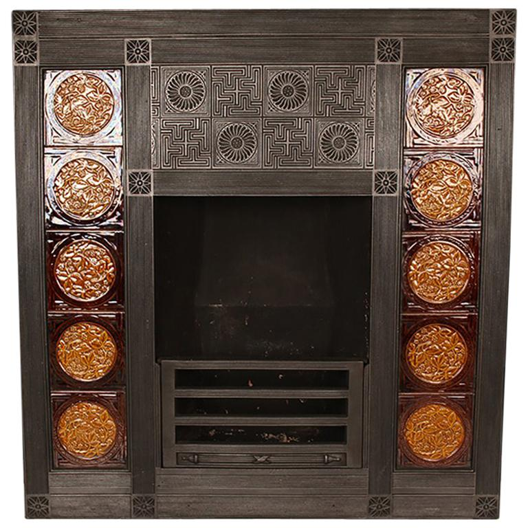 Antique Aesthetic Movement Victorian Tiled Cast Iron Fireplace Insert