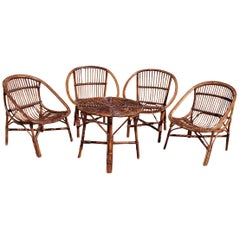 1970s Bamboo Set of Four Chairs and Table