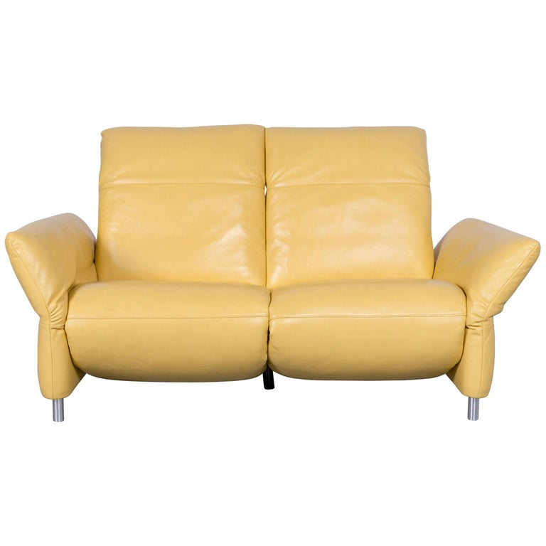 Koinor Elena Designer Two-Seat Sofa Yellow Leather Electric Function Couch