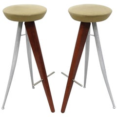 Pair of Italian Modernist Bar Stools Barstools Wood and Metal Mid-Century Modern