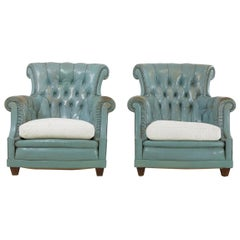 Pair of French 1960s Leather Armchairs