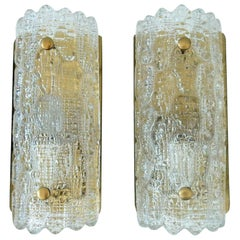 Set of Crystal and Brass 'Gefion' Wall Sconces, Carl Fagerlund for Orrefors/Lyfa