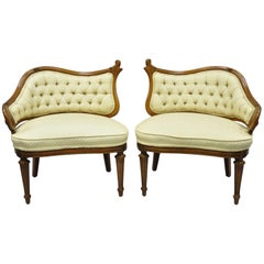 Pair of Yellow Hollywood Regency French Style Wing Back Lounge Parlor Chairs