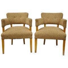 Pair of Mid-Century Modern Maple Club Lounge Chairs Jens Risom Heywood Wakefield