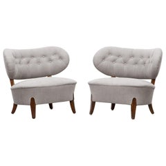 Grey Upholstery Pair of Otto Schulz Lounge Chairs