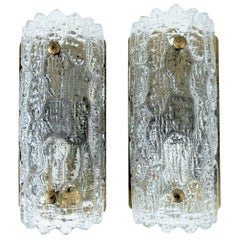 Set of Crystal & Brass 'Gefion' Wall Sconces by Carl Fagerlund for Orrefors/Lyfa