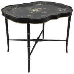 Scalloped Tole Metal Serving Tray Coffee Tea Table Black Faux Bamboo Chinoiserie