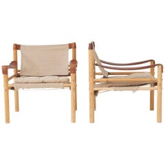 Pair of Arne Norell Safari Sirocco Lounge Chairs, Sweden, Norell Mobler