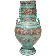 Moroccan Inlay Highly Decorated Ceramic Vase, with Metal and Bone