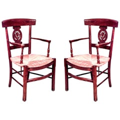 Pair of French Provincial Style '19th Century' Open Back Armchairs
