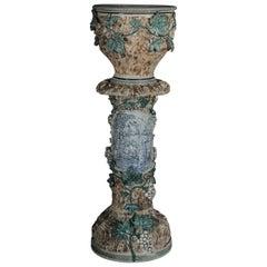 Plant Pot Pillar Majolica Austria Vine Leaves Ceramics from 1885