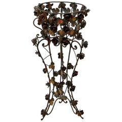 Antique Painted Wrought Iron Jardinière Plant Stand