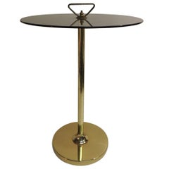 Mid-Century Modern Brass Side Table with Upper Handle