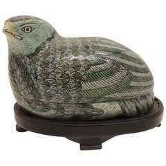 Vintage Chinese Export Hand-Painted Black and Green Ceramic Quail