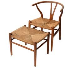 Vintage Hans Wegner Wishbone Chair and a Jorgen Baekmark Stool, 1960s