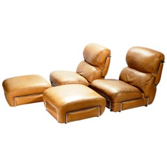 Pair of Leather Armchairs with Ottomans Gianfranco Frattini, 1970s