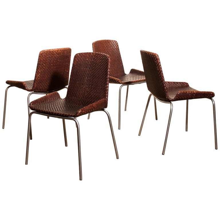 1960s, Set of Four Leather Braided Dining Chairs, Italy For Sale