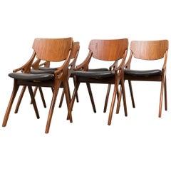 Rare Set of Six Arne Hovmand Olsen Dining Chairs for Mogens Kold