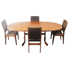 1970s Midcentury Large Ellipse G Plan Dining Table and Chairs