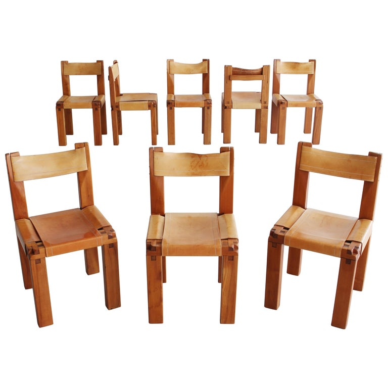 """Set of Eight """"S11"""" Chairs by Pierre Chapo"""