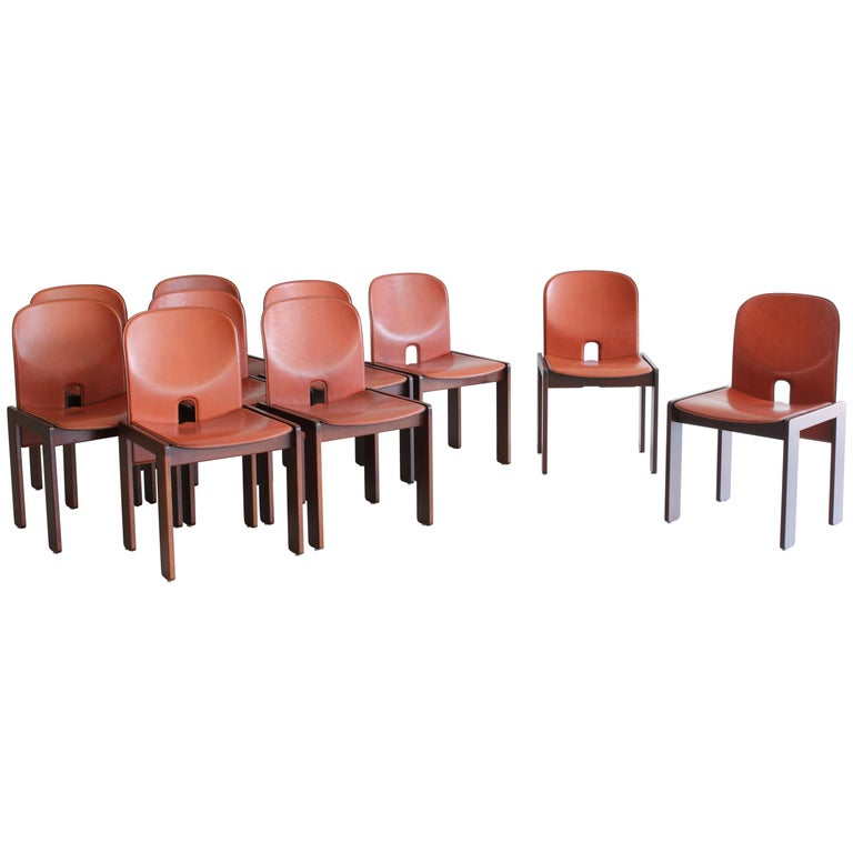 Set of Ten Afra & Tobia Scarpa Dining Chairs For Sale