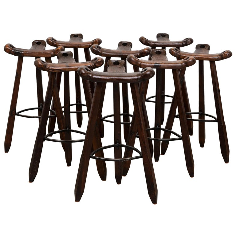 Sergio Rodriques Style Brutalist Bar Stools