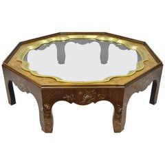 Baker Collectors Edition Painted Chinoiserie Brass Glass Octagonal Coffee Table
