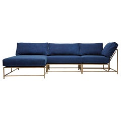 Indigo Canvas and Antique Brass Small Sectional