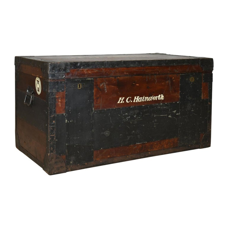 Antique Steamer Trunk, Large, English, Pine, Metal Lined, Chest, Edwardian