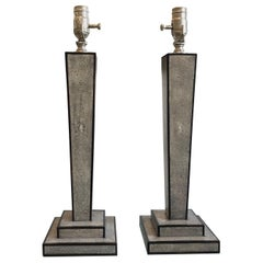 Tapered Gray Shagreen and Ebony Inlay Lamps