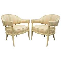 Pair Barrel Back Mahogany Frame Lounge Club Chairs after T.H. Robsjohn Gibbings