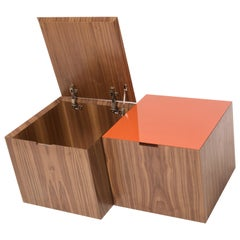 Four Square Storage Cube Lacquer and Walnut