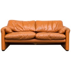 Vico Magistretti Maralunga Caramel Leather Love Seat