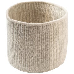 Natural Woven Wool Basket in Light Grey, Custom Crafted in the USA, Balance