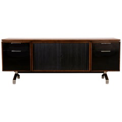1960s Modern Walnut Credenza with Sliding Tambour Doors