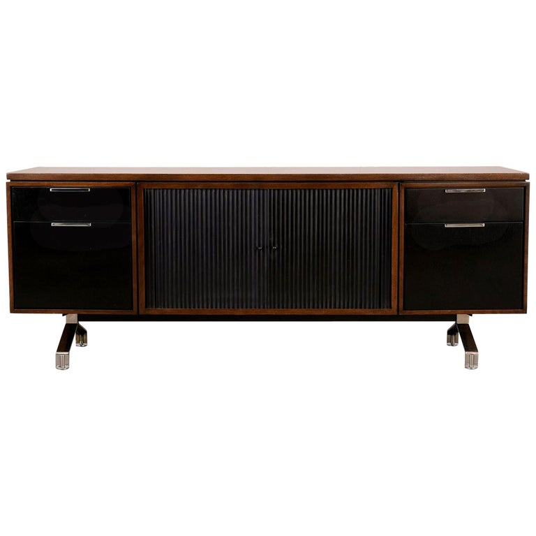 1960s Modern Walnut Credenza with Sliding Tambour Doors